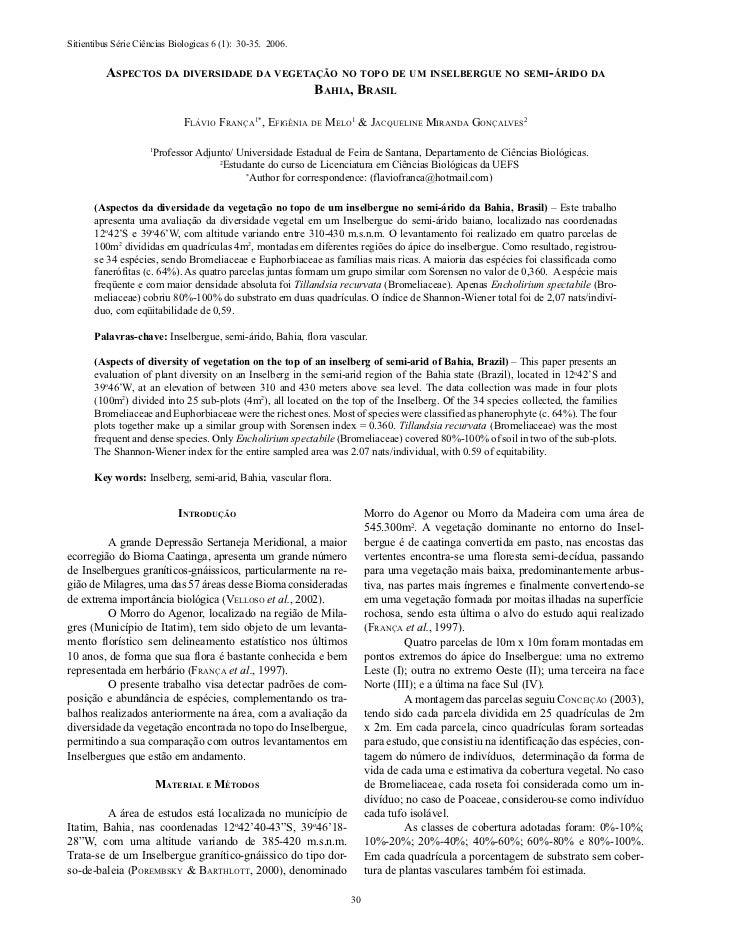 Sitientibus Série Ciências Biologicas 6 (1): 30-35. 2006.         Aspectos dA diversidAde dA vegetAção no topo de um insel...
