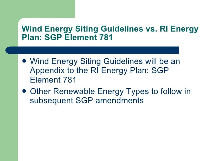 Wind Energy Siting Guidelines