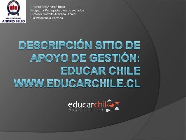 Universidad Andrés Bello Programa Pedagogía para Licenciados Profesor Rodolfo Aravena Ricardi Pía Valenzuela Herrada