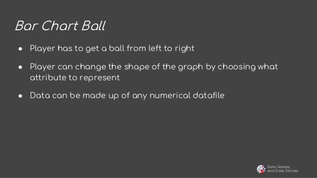 Data Games, and Data Stories Bar Chart Ball ● Player has to get a ball from left to right ● Player can change the shape of...