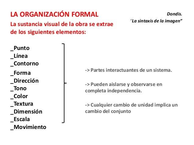 LA ORGANIZACIÓN FORMALLa sustancia visual de la obra se extraede los siguientes elementos:_Punto_Línea_Contorno_Forma_Dire...