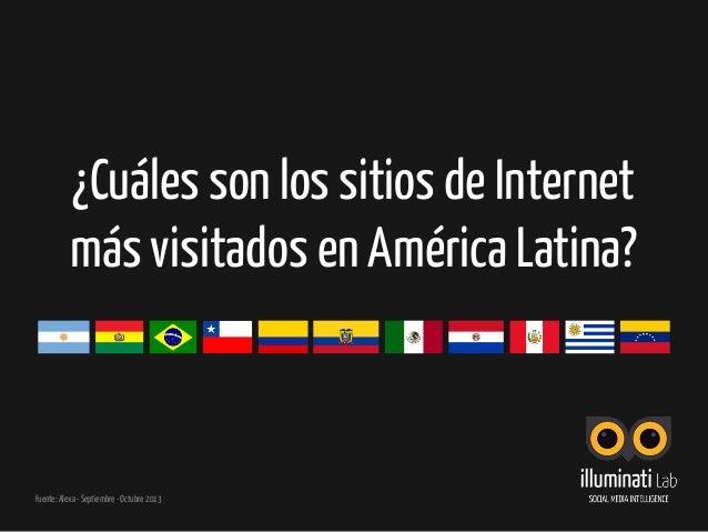¿Cuáles son los sitios de Internet más visitados en América Latina? Fuente: Alexa - Septiembre - Octubre 2013