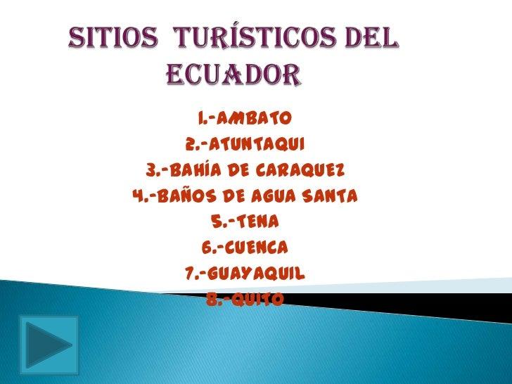 1.-AMBATO     2.-ATUNTAQUI 3.-BAHÍA DE CARAQUEZ4.-BAÑOS DE AGUA SANTA         5.-TENA        6.-CUENCA     7.-GUAYAQUIL   ...