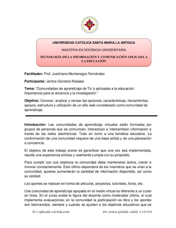 UNIVERSIDAD CATÓLICA SANTA MARÍA LA ANTIGUA                            MAESTRIA EN DOCENCIA UNIVERSITARIA           TECNOL...