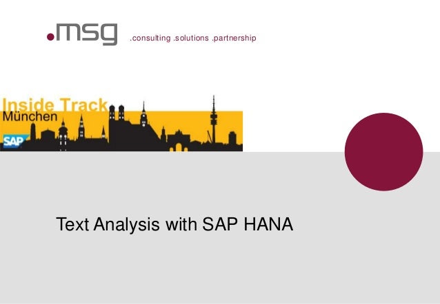 .consulting .solutions .partnership Text Analysis with SAP HANA