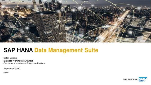 PUBLIC SAP HANA Data Management Suite Sefan Linders Big Data Warehouse Architect Customer Innovation & Enterprise Platform...