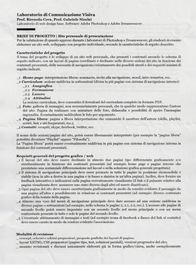 Laboratorio di Comunicazione Visiva Prof.  Riccardo Cova,  Prof.  Gabriele Nicolai Laboratorio di web design base.  Softwa...