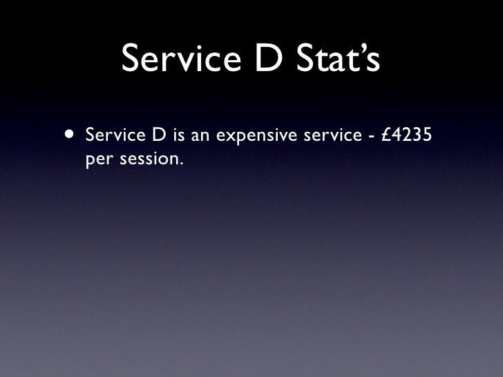 Service D Stat's • Service D is an expensive service - £4235   per session.
