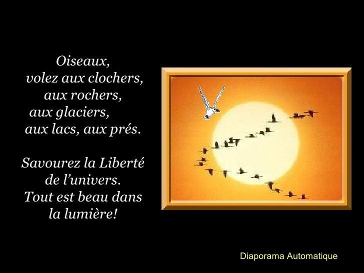 Oiseaux,volez aux clochers,   aux rochers, aux glaciers,aux lacs, aux prés.Savourez la Liberté   de l'univers.Tout est bea...