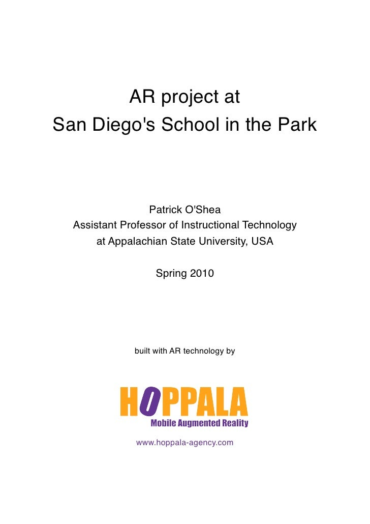 AR project at San Diego's School in the Park                      Patrick O'Shea   Assistant Professor of Instructional Te...