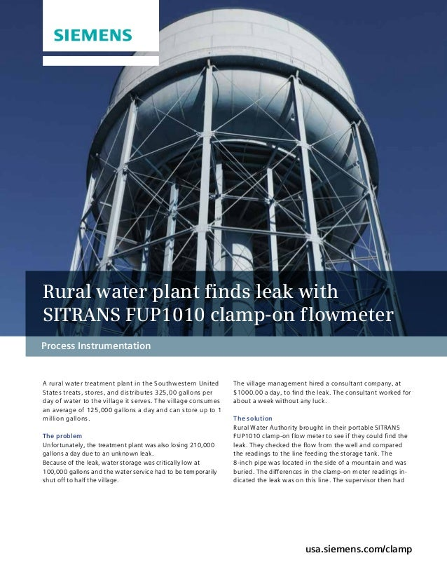 Process Instrumentation A rural water treatment plant in the Southwestern United States treats, stores, and distributes 32...
