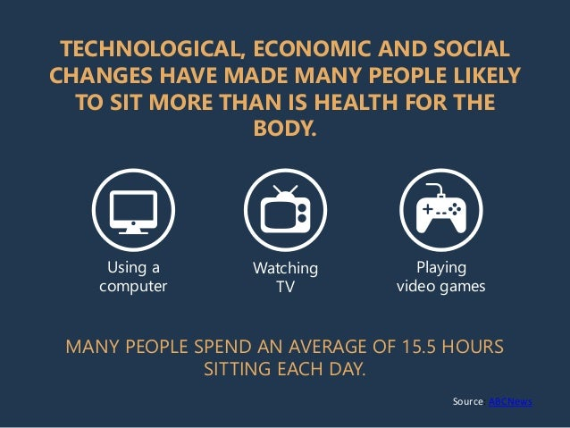 TECHNOLOGICAL, ECONOMIC AND SOCIAL CHANGES HAVE MADE MANY PEOPLE LIKELY TO SIT MORE THAN IS HEALTH FOR THE BODY. Using a c...