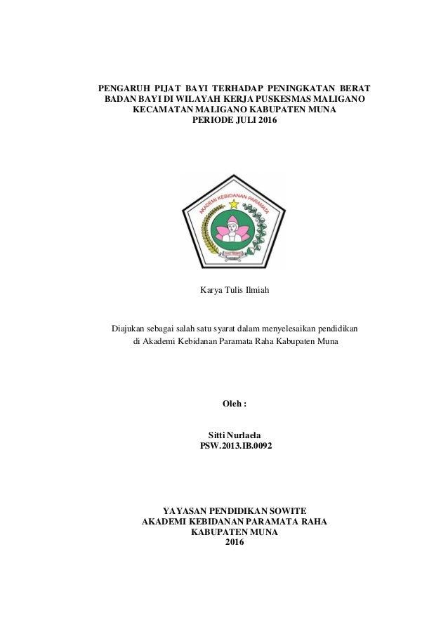 Pengaruh Terapi Pijat Terhadap Kenaikan Berat Badan Bayi Prematur di RSUP. Dr. M. Djamil Padang