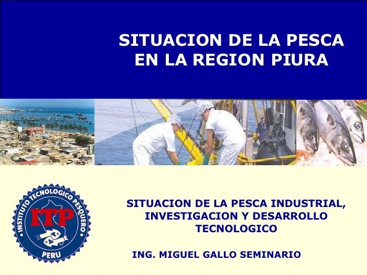 ING. MIGUEL GALLO SEMINARIO SITUACION DE LA PESCA INDUSTRIAL, INVESTIGACION Y DESARROLLO TECNOLOGICO SITUACION DE LA PESCA...