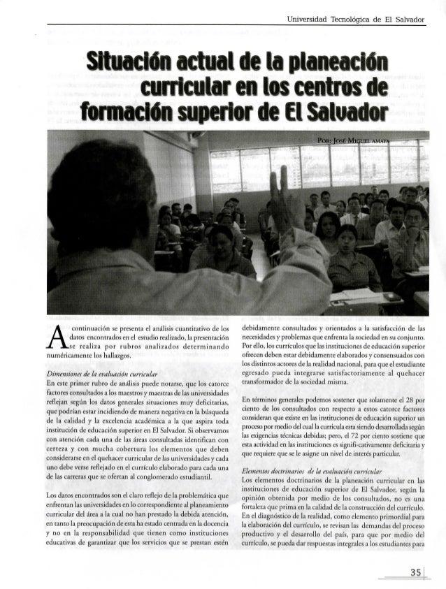Universidad Tecnológica de El Salvador  Situación actual de la planeador)  auricular en los centros de  formación superior...