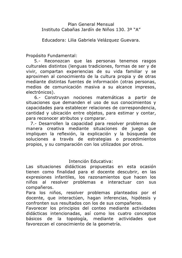 """Plan General Mensual        Instituto Cabañas Jardín de Niños 130. 3º """"A""""         Educadora: Lilia Gabriela Velázquez Guev..."""