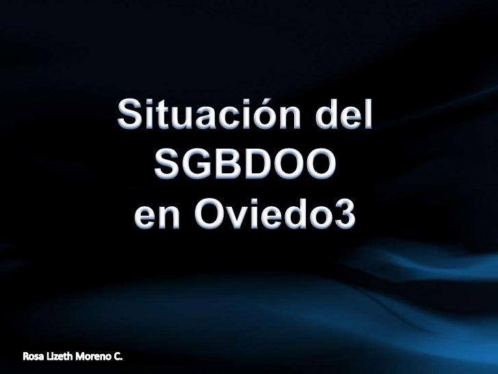 Situación del SGBDOO <br />en Oviedo3<br />Rosa Lizeth Moreno C.<br />