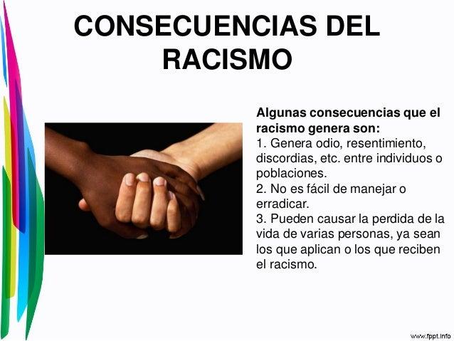 CONSECUENCIAS DELRACISMOAlgunas consecuencias que elracismo genera son:1. Genera odio, resentimiento,discordias, etc. entr...