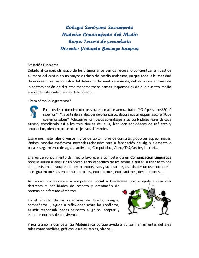 Colegio Santísimo Sacramento                      Materia: Conocimiento del Medio                         Curso: Tercero d...