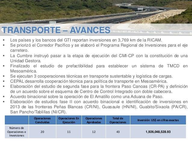 TRANSPORTE – AVANCES           Los países y los bancos del GTI reportan inversiones en 3,769 km de la RICAM. Se p...