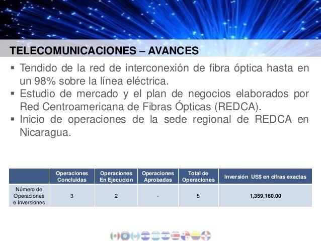 TELECOMUNICACIONES – AVANCES  Tendido de la red de interconexión de fibra óptica hasta en un 98% sobre la línea eléctrica...