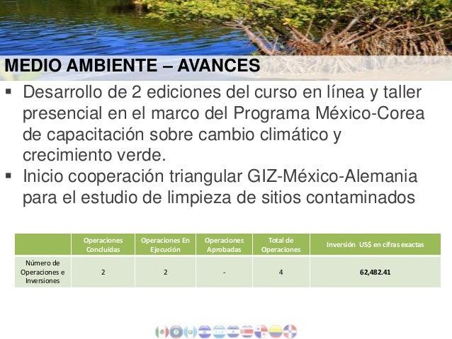 MEDIO AMBIENTE – AVANCES  Desarrollo de 2 ediciones del curso en línea y taller presencial en el marco del Programa Méxic...
