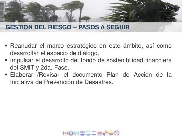 GESTION DEL RIESGO – PASOS A SEGUIR  Reanudar el marco estratégico en este ámbito, así como desarrollar el espacio de diá...