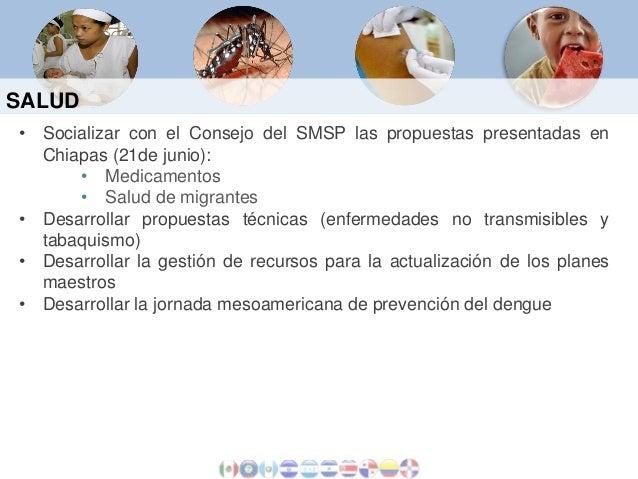SALUD • Socializar con el Consejo del SMSP las propuestas presentadas en Chiapas (21de junio): • Medicamentos • Salud de m...