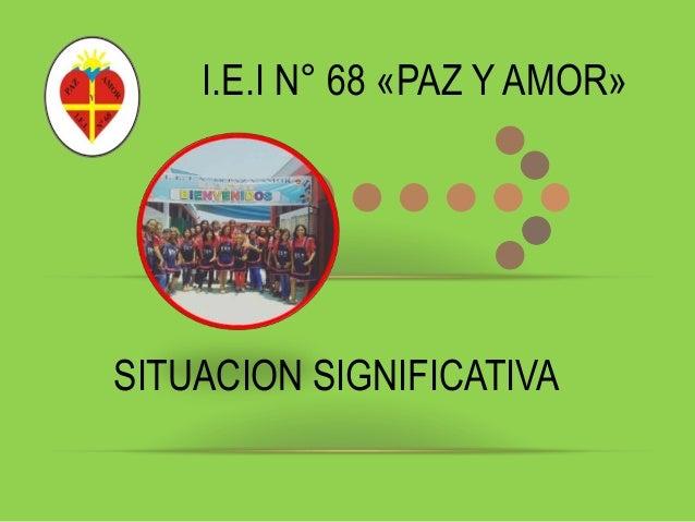 I.E.I N° 68 «PAZ Y AMOR» SITUACION SIGNIFICATIVA
