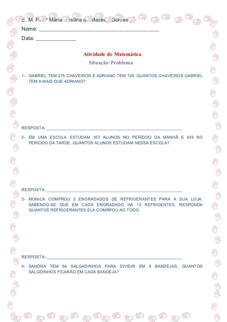 E. M. Profª Maria Cristina de Macedo Gomes Nome: _____________________________________________ Data: _______________      ...
