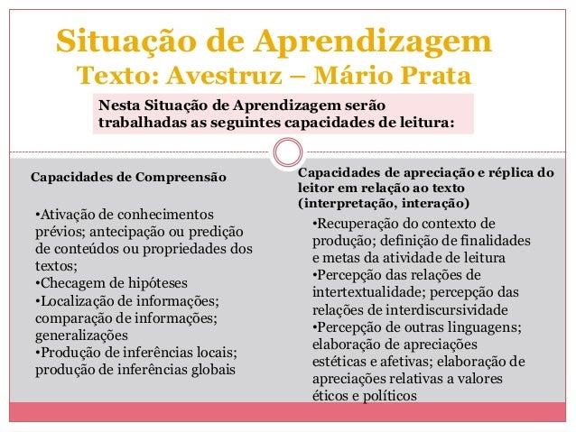 Situação de AprendizagemTexto: Avestruz – Mário PrataCapacidades de Compreensão•Ativação de conhecimentosprévios; antecipa...