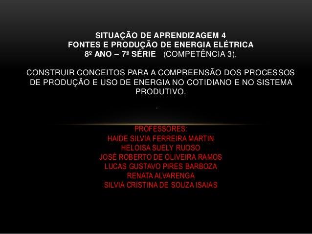 . SITUAÇÃO DE APRENDIZAGEM 4 FONTES E PRODUÇÃO DE ENERGIA ELÉTRICA 8º ANO – 7ª SÉRIE (COMPETÊNCIA 3). CONSTRUIR CONCEITOS ...