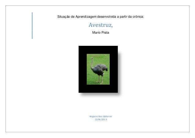 Situação de Aprendizagem desenvolvida a partir da crônica:Avestruz,Mario PrataRegiane Reis &Marize12/06/2013