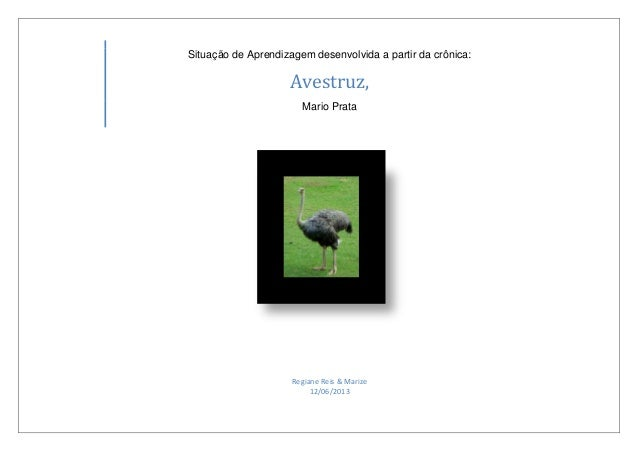 Situação de Aprendizagem desenvolvida a partir da crônica:Avestruz,Mario PrataRegiane Reis & Marize12/06/2013