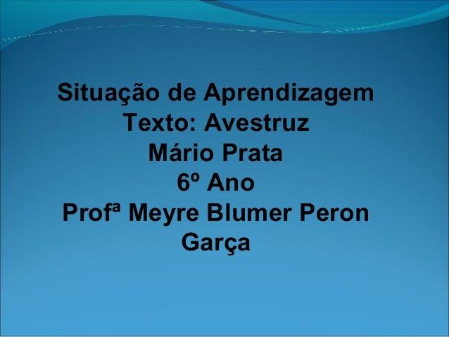 Situação de AprendizagemTexto: AvestruzMário Prata6º AnoProfª Meyre Blumer PeronGarça