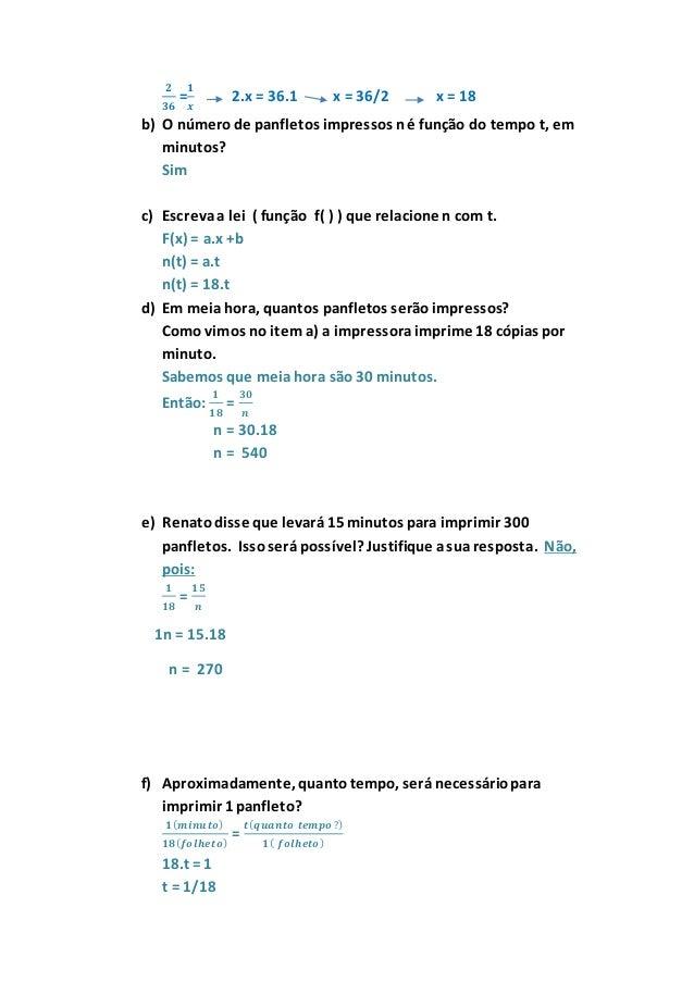 Situacao Problemas Ideia De Funcao Gabarito