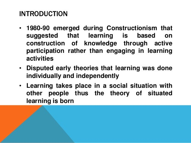 situated learning and cognition relationship