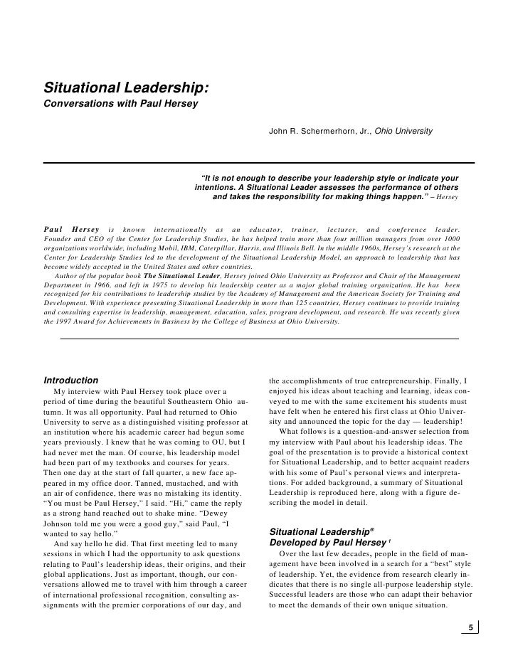 the situational leader paul hersey pdf