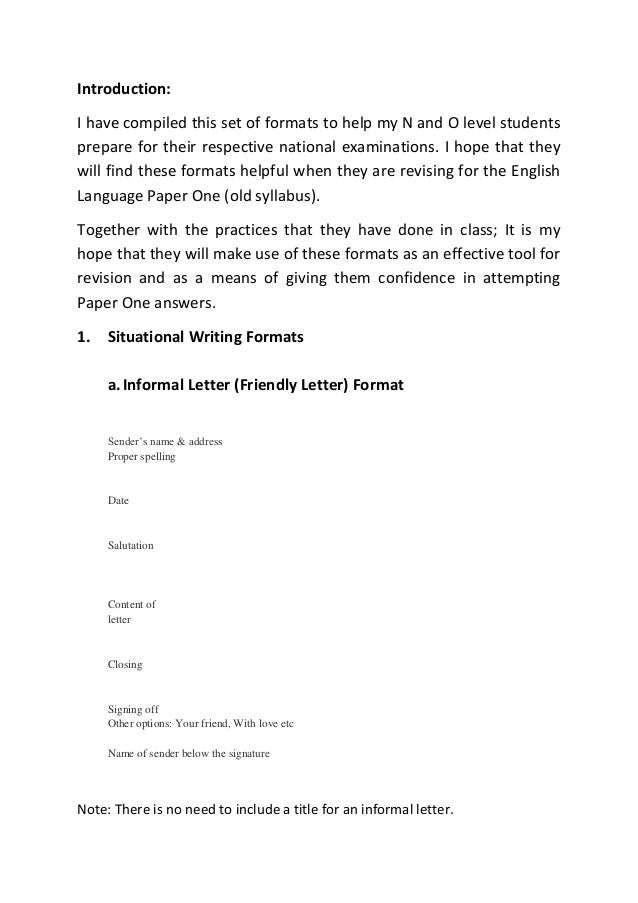 Situational writing formats guidenotesn lvl introduction i have compiled this set of formats to help my n and o level 1 brmal letter spiritdancerdesigns Images