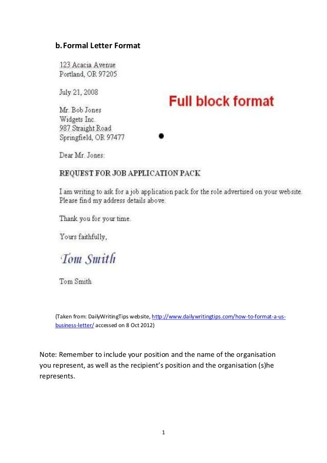 latest letter writing format The example letter below shows you a general format for a formal or business  letter pass your mouse over the different areas of it to find out more information.