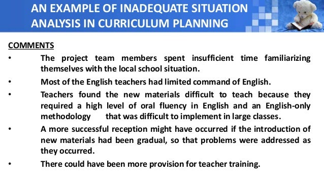 Situation Analysis In Curriculum Design