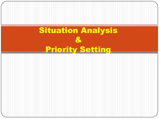 Situation Analysis & Priority Setting