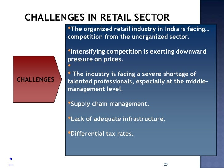 challenges facing the organized retail industry Growth and challenges of retail industry in india: an analysis  the main challenge facing the organized sector is the competition from unorganized sector .
