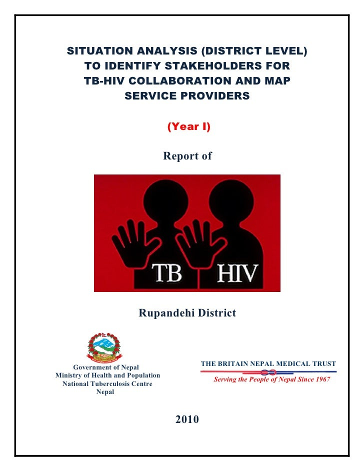 SITUATION ANALYSIS (DISTRICT LEVEL)       TO IDENTIFY STAKEHOLDERS FOR       TB-HIV COLLABORATION AND MAP             SERV...