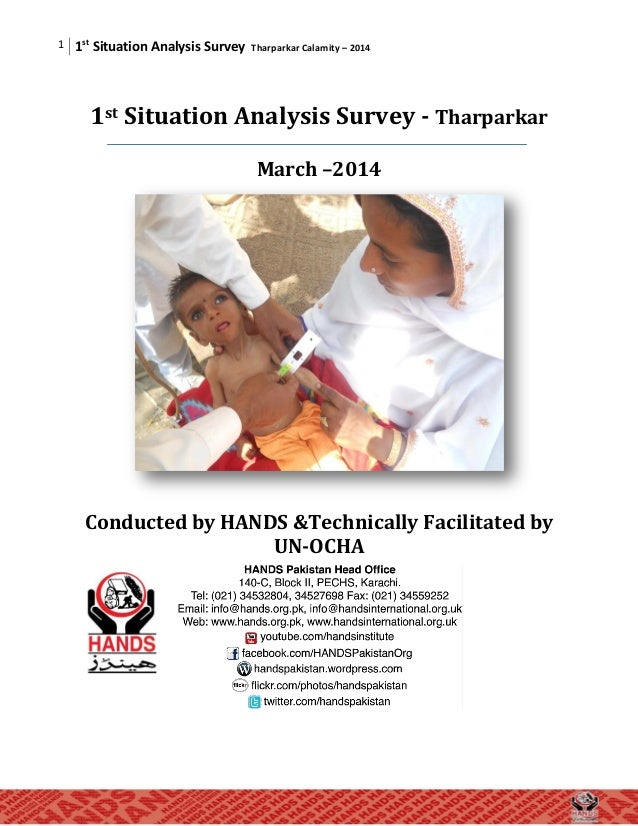 Situation analysis survey tharparkar calamity of  2014,conducted by HANDS under leadership of Dr.Shaikh Tanveer Ahmed