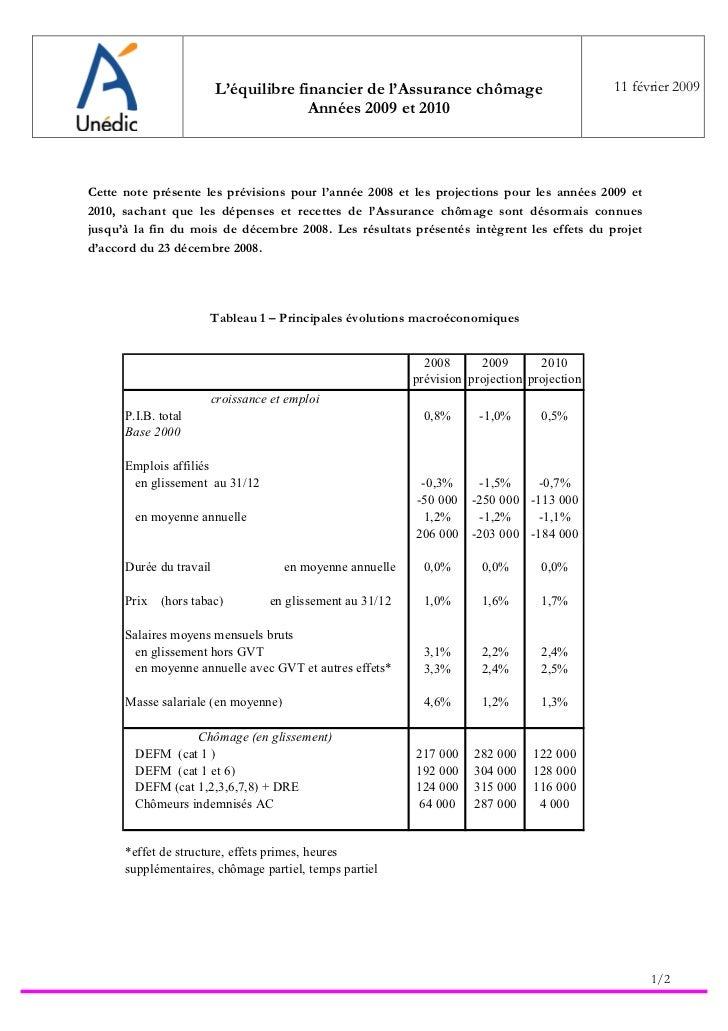 L'équilibre financier de l'Assurance chômage                        11 février 2009                                       ...