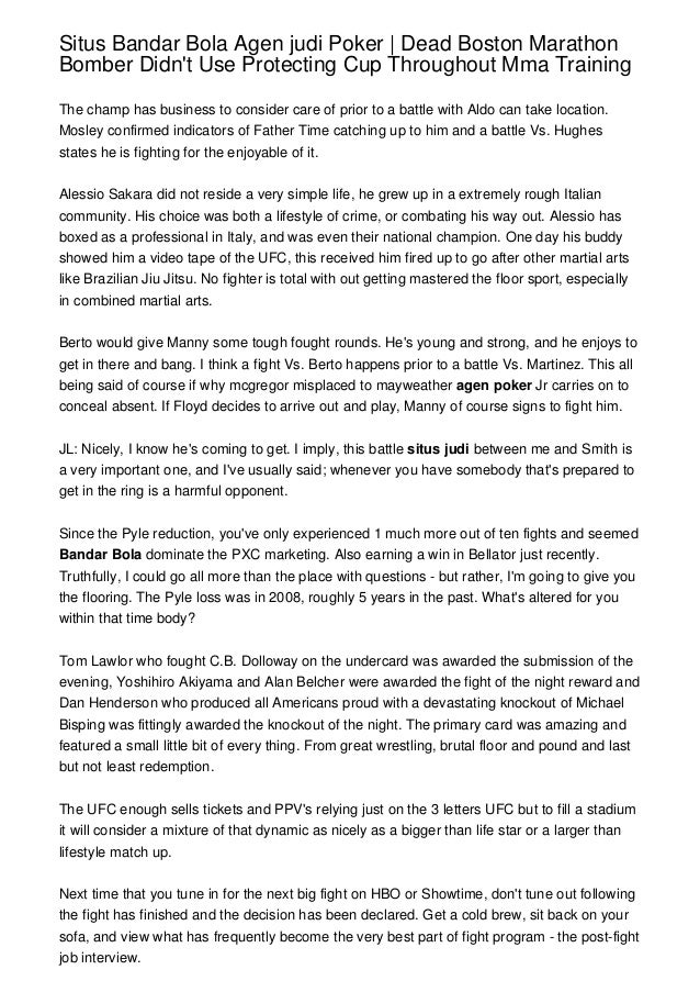 Situs Bandar Bola Agen Judi Poker Dead Boston Marathon Bomber Didn