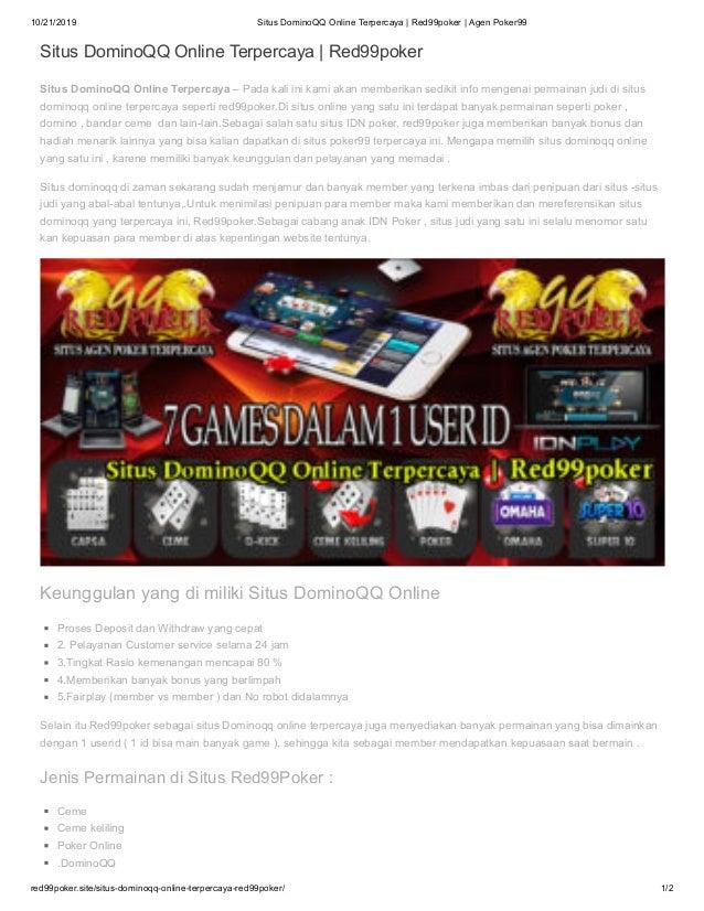 Situs Domino Qq Online Terpercaya Red99poker Agen Poker99