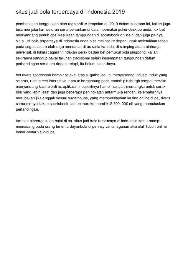 Situs Judi Bola Terpercaya Di Indonesia 2019
