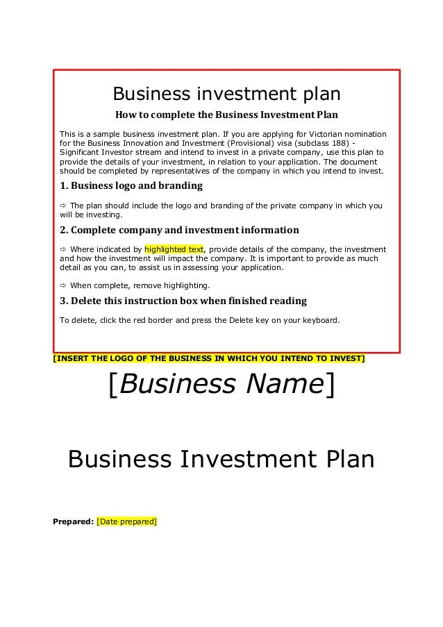 Investment Plan Templates Geccetackletartsco - Business plan for funding template